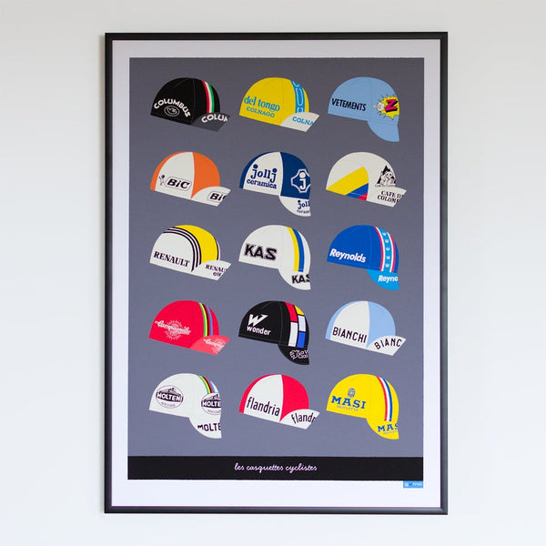 Dark grey Casquettes cycling caps art poster in frame, A2.