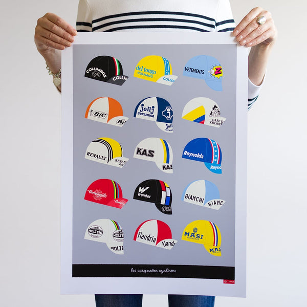 Casquettes cycling caps art poster, light grey. A2.