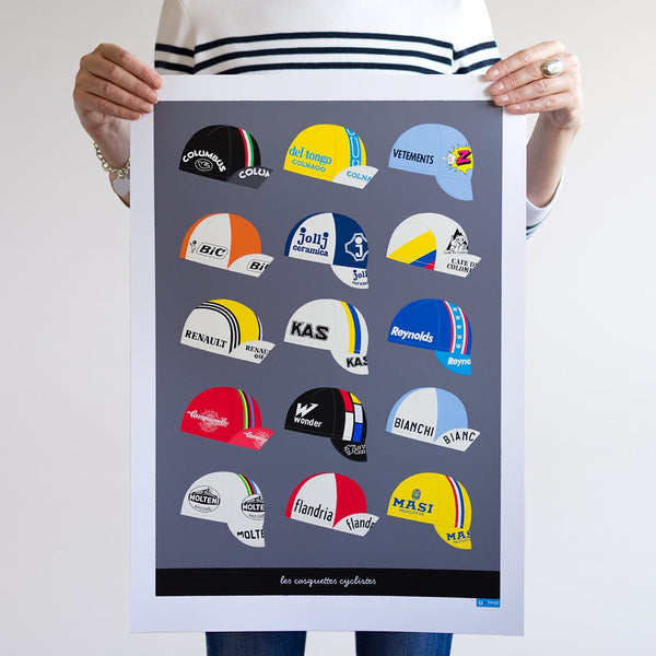 Dark grey Casquettes cycling caps art poster, unframed. A2.