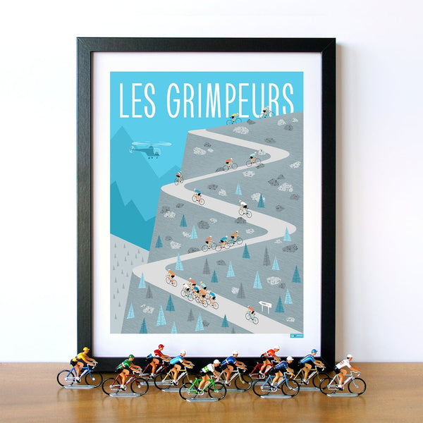 Cycling art print featuring group of riders 'Les Grimpeurs' climbing a mountain. Colour: Blue. Size: 30 x 40 cm.