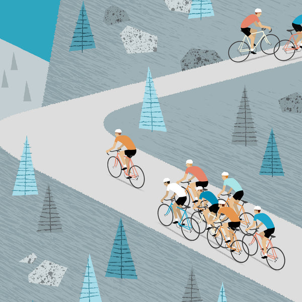 Detail of Climbers cycling poster.