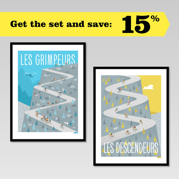 Set of two cycling posters featuring riders climbing and descending. Buy the set & save 15%