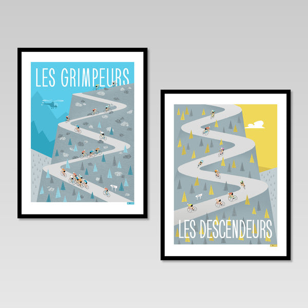 Set of two cycling posters featuring riders climbing 'Les Grimpeurs' and descending 'Les Descendeurs'. Colours: Blue/Grey and Yellow/Grey. Size: 30 x 40 cm.