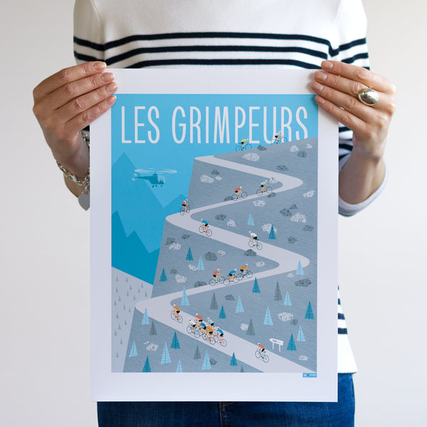 Cycling Poster featuring group of riders climbing 'Les Grimpeurs'. Colour: Blue. Size: 30 x 40 cm