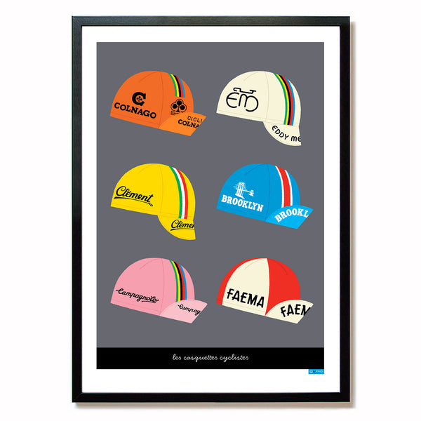 Poster featuring six classic cycling caps with a dark grey background.