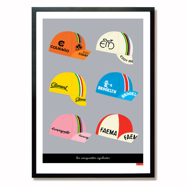 Print featuring six classic cycling caps with a light grey background.