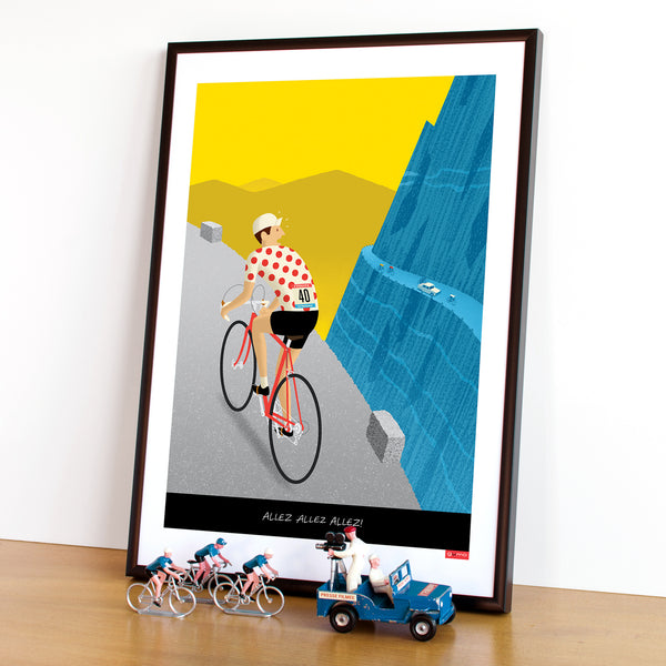 Breakaway personalised cycling poster with polka dot jersey option. 30 x 40 cm.