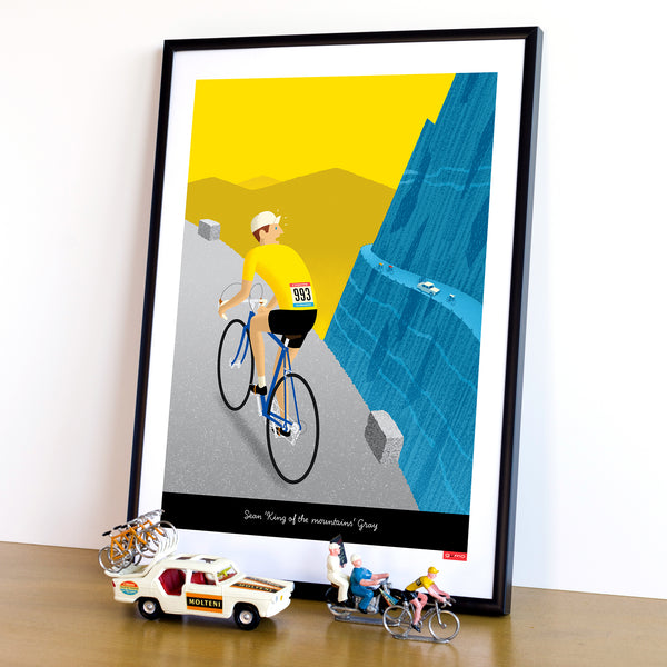 Breakaway personalised cycling poster featuring  yellow jersey option. 30 x 40 cm.