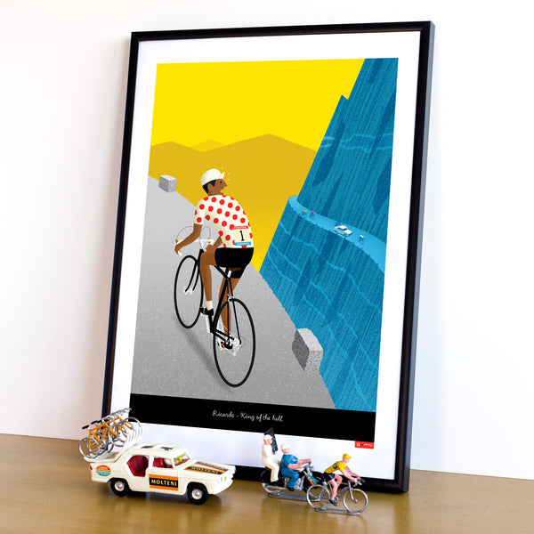 Personalised Breakaway Cycling Print featuring polka dot jersey and dark skin tone options.