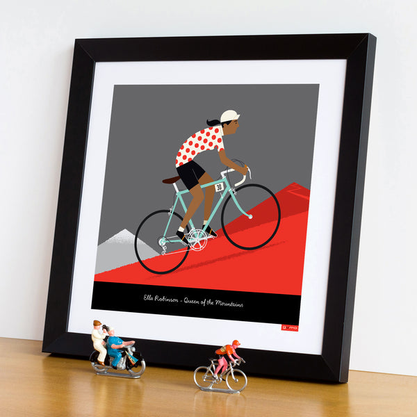 Queen of the Mountains personalised cycling print featuring dark skin tone option.