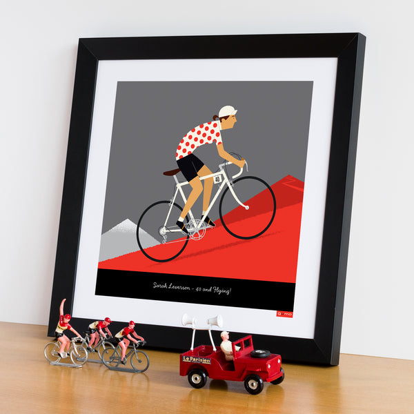 Queen of the Mountains personalised cycling print featuring medium skin tone option.