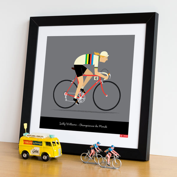 Framed female personalised rainbow jersey cycling print. 30 x 30 cm