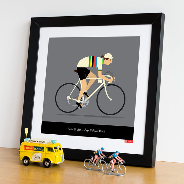 Framed female personalised rainbow jersey cycling print, white bike. 30 x 30 cm