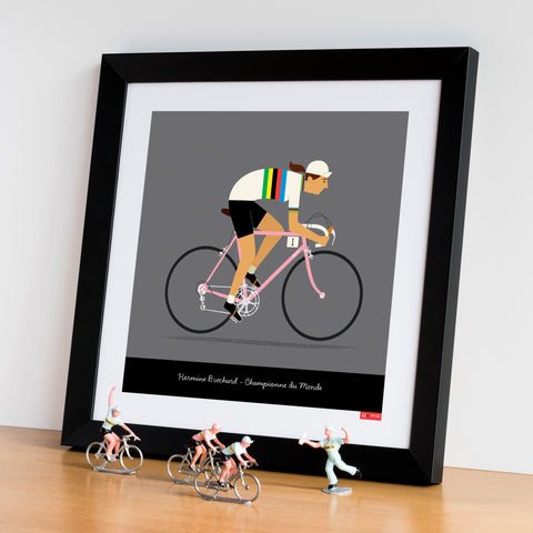 Female personalised rainbow jersey cycling print featuring medium skin tone option.