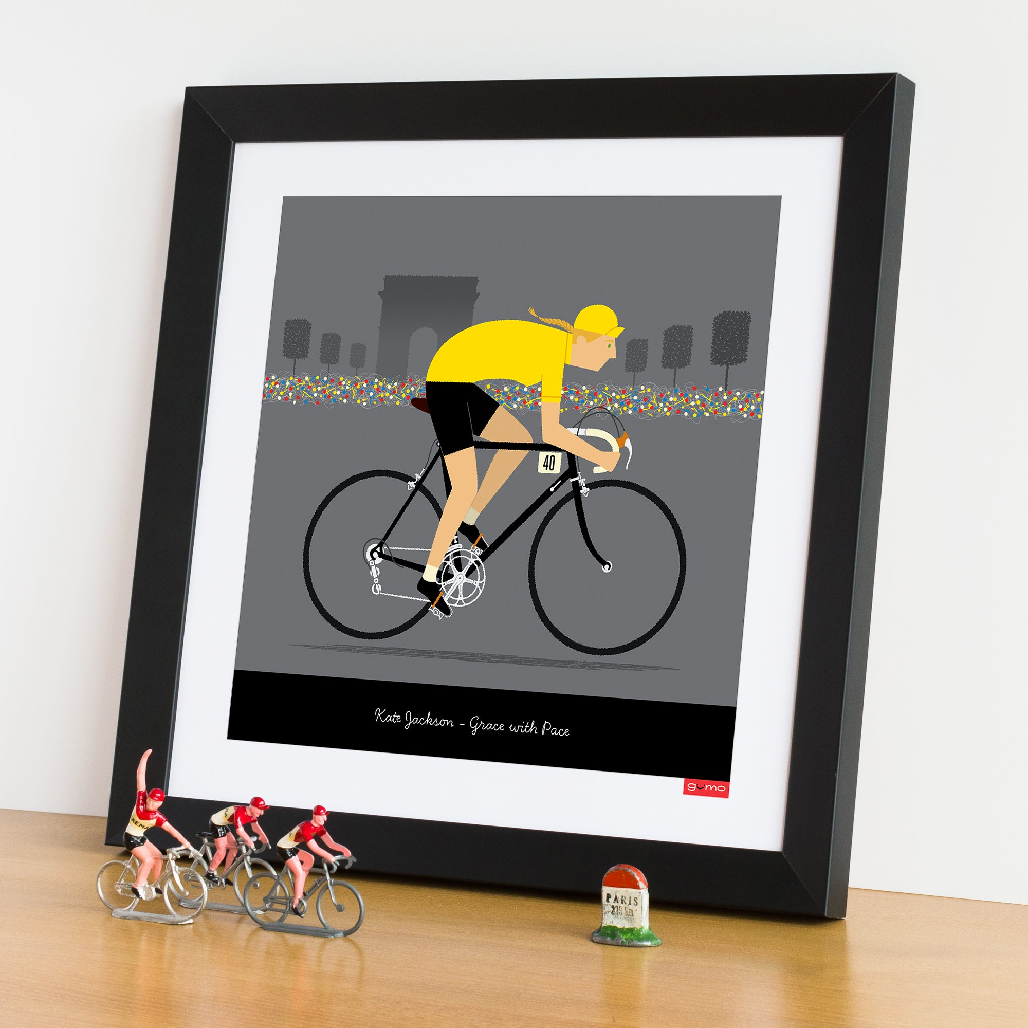 Female yellow jersey personalised cycling print.
