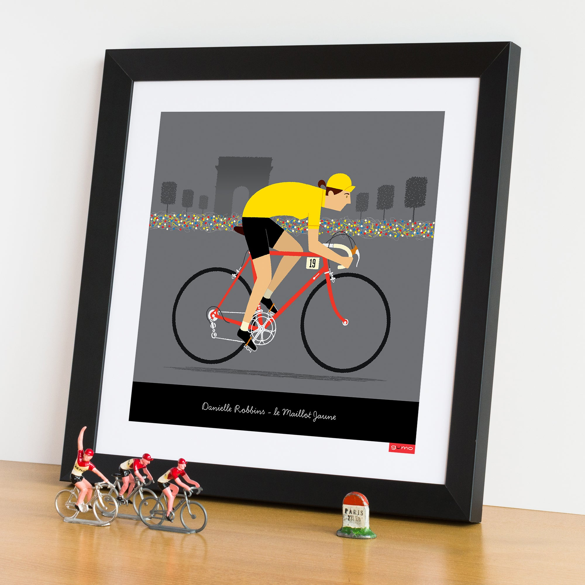 Female yellow jersey personalised cycling print featuring fair skin tone and red bike options.