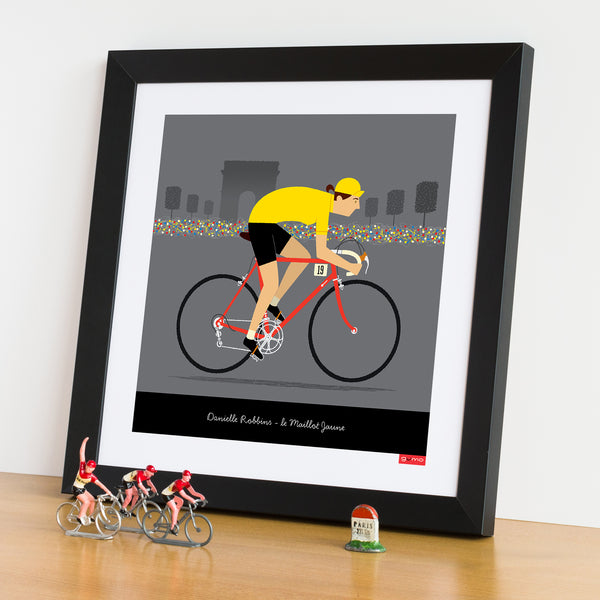 Female yellow jersey personalised cycling print with red bike option.