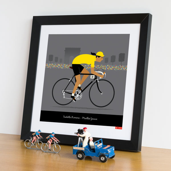 Personalised female yellow jersey cycling print featuring medium skin tone option.