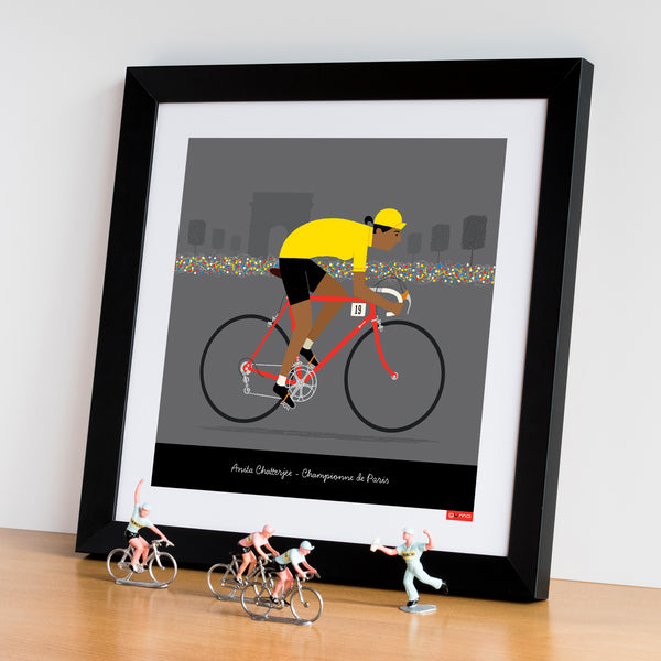 Female yellow jersey personalised cycling print featuring tan skin tone option.