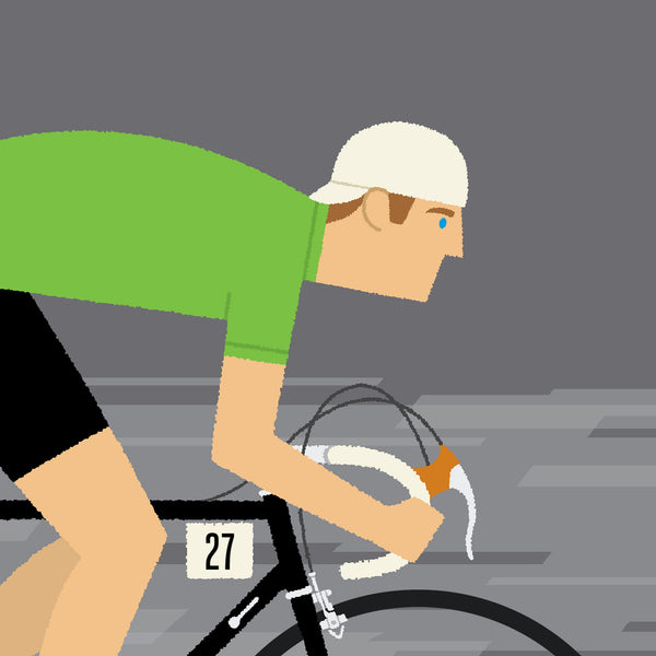 Detail of green jersey personalised cycling wall art, black frame option.