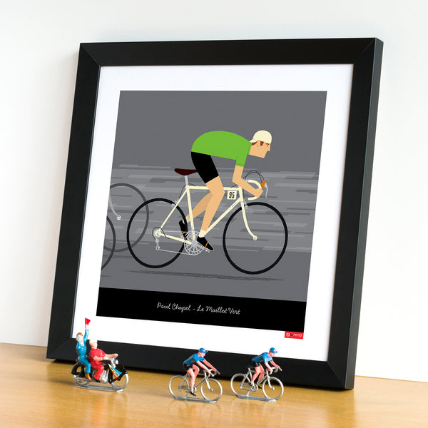 Framed green jersey personalised cycling wall art, with white bike frame option.
