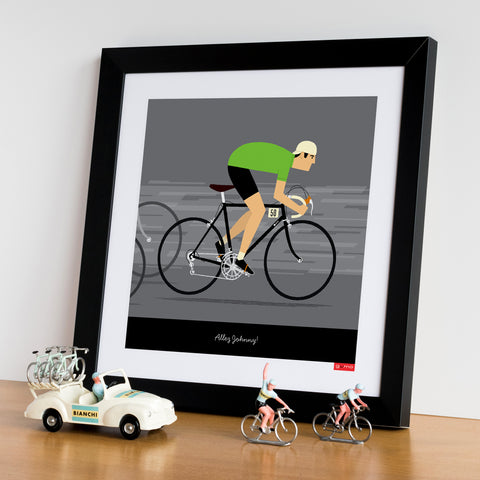 Framed green jersey personalised cycling wall art. 30 x 30 cm.