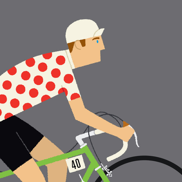 Detail of Personalised King of the Mountains Cycling Print