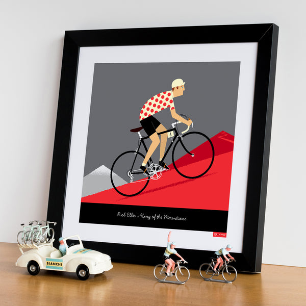 Personalised King of the Mountains Cycling Print with black bike colour option