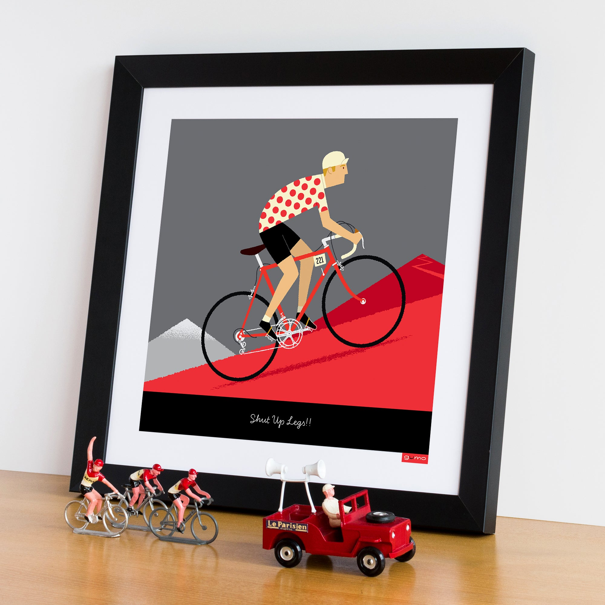 personalised king of the mountains cycling print, framed