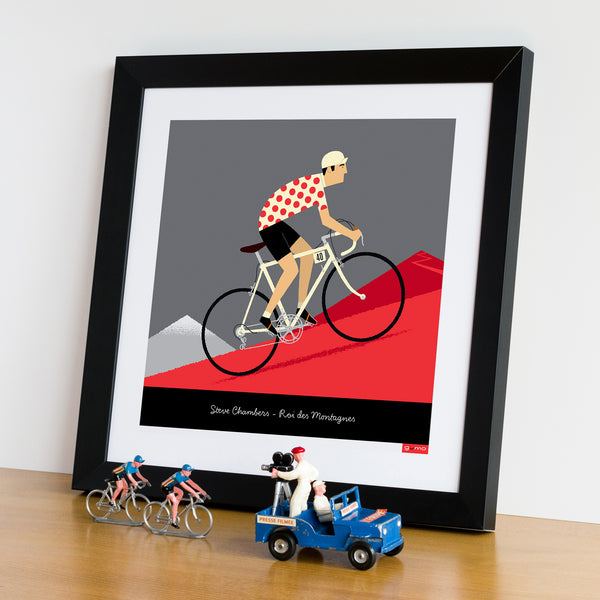 Personalised King of the Mountains Cycling Print with white bike colour option