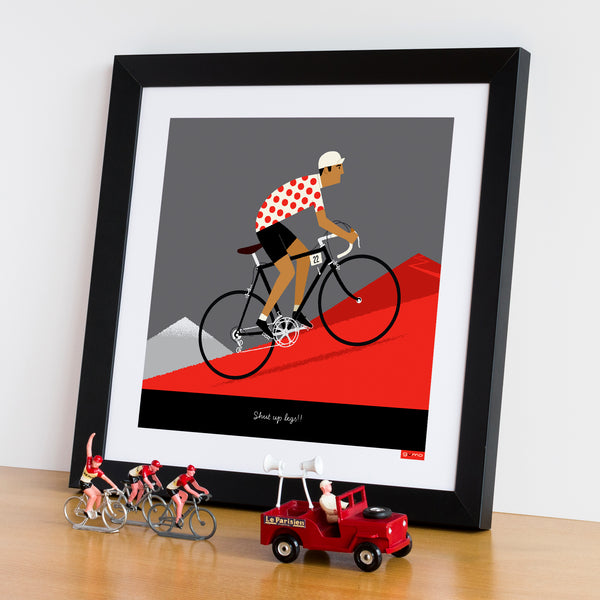 Personalised King of the Mountains Cycling Print with tan skin tone option.option