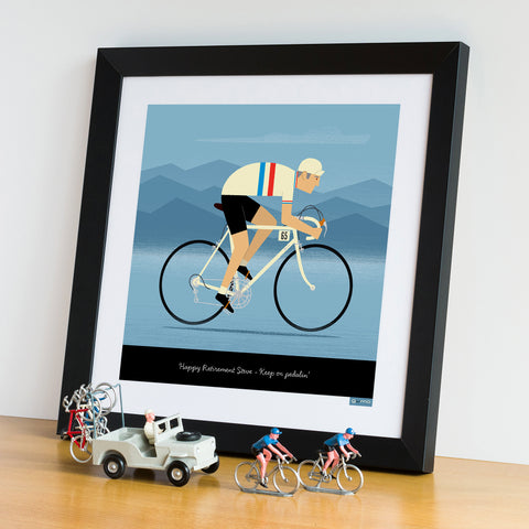 National Team Jerseys cycling art framed. GB design. 30 x 30 cm.