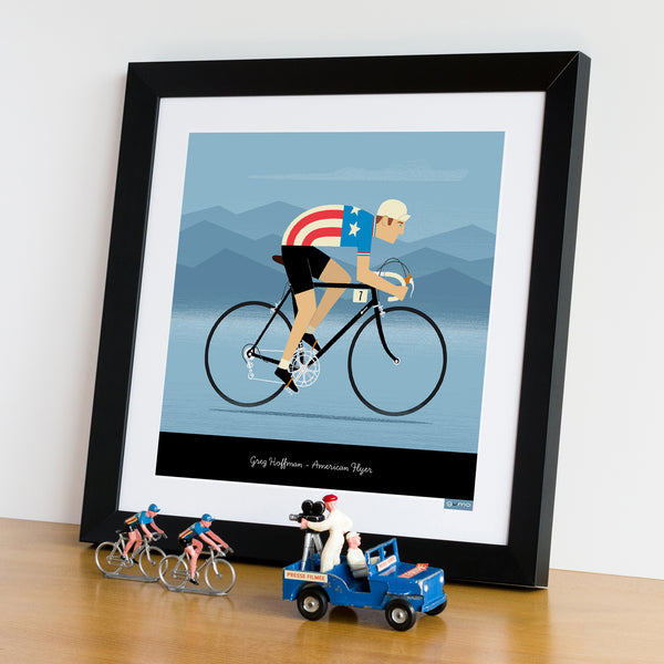 National Team Jerseys cycling art framed. USA design. 30 x 30 cm.