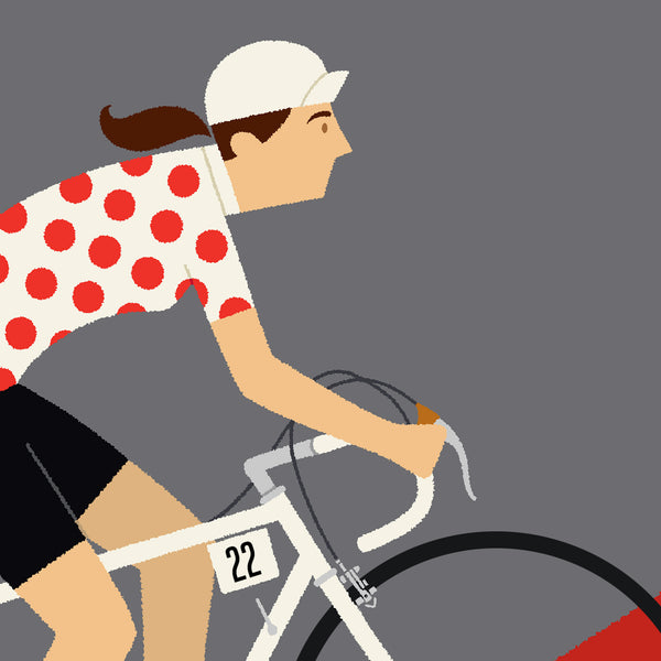 Detail of Queen of the Mountains personalised cycling print featuring fair skin tone option.
