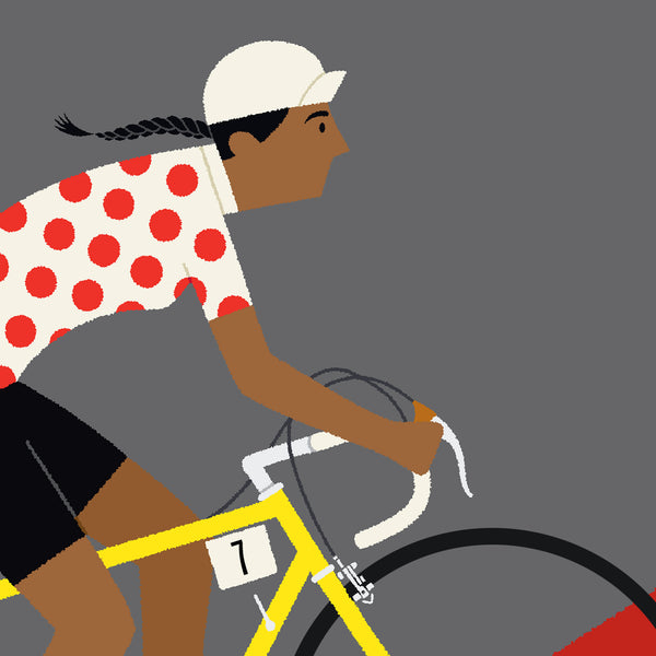 Detail of Queen of the Mountains personalised cycling print featuring dark skin tone option.