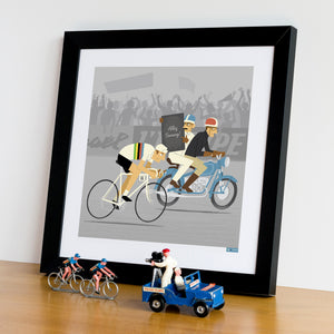 Race Leader personalised cycling print in frame. 30 x 30 cm.