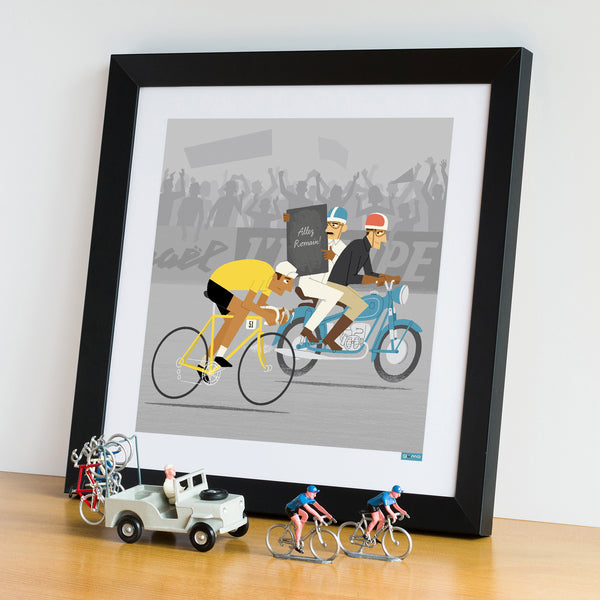 Race Leader personalised cycling print with yellow jersey and medium skin tone option.