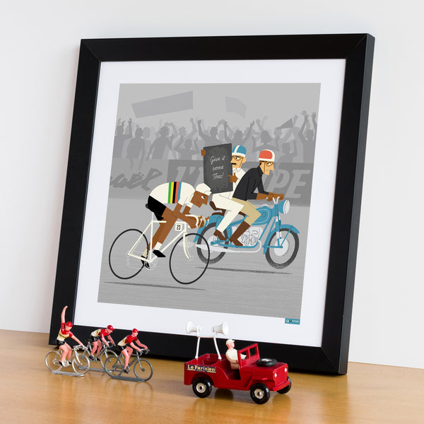 Race Leader personalised cycling print with polka dot jersey and dark skin tone option.