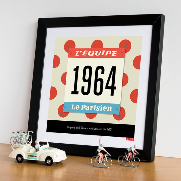 Race Number personalised cycling print, polka dot jersey. 30 x 30 cm.