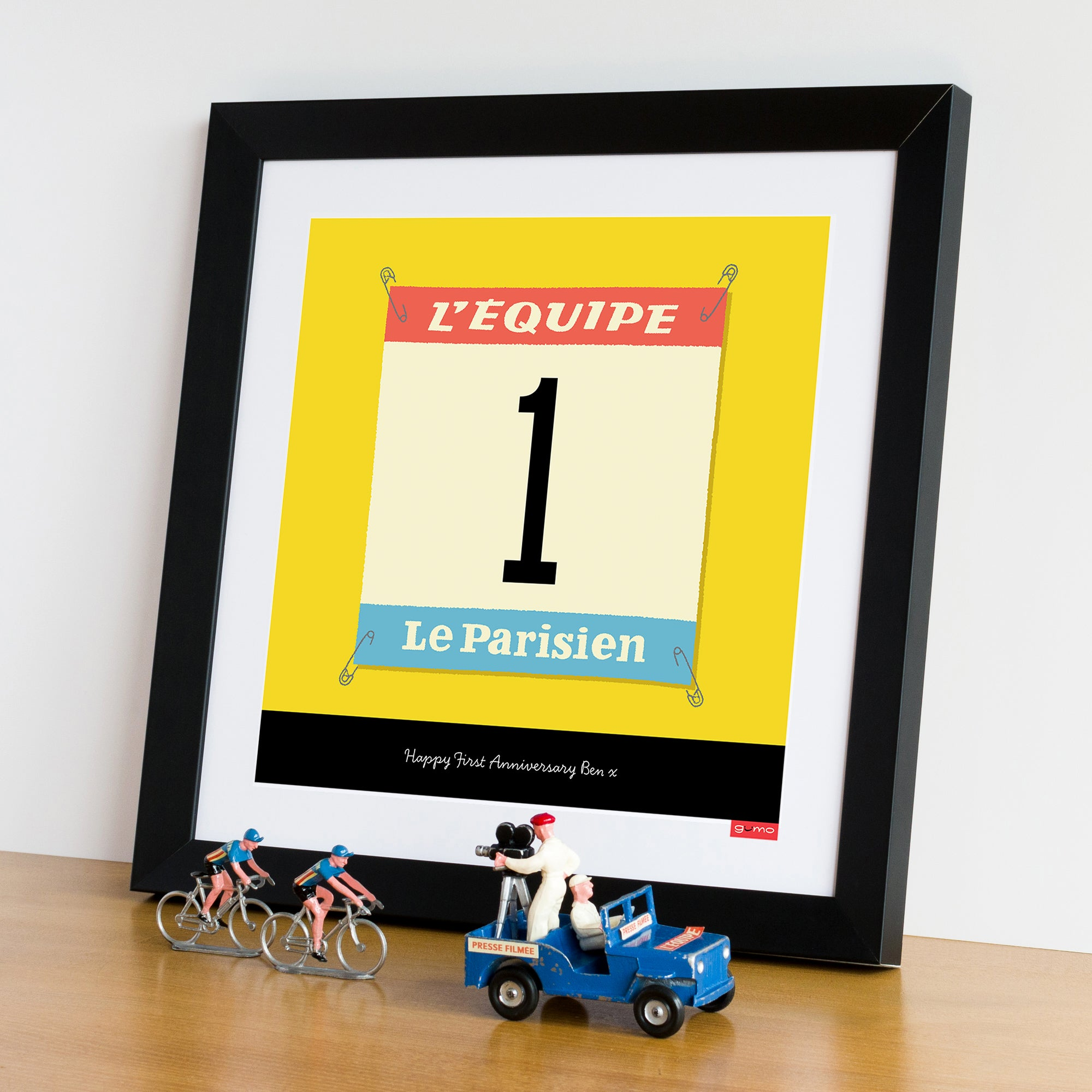 Race Number personalised cycling print, jellow jersey. 30 x 30 cm.