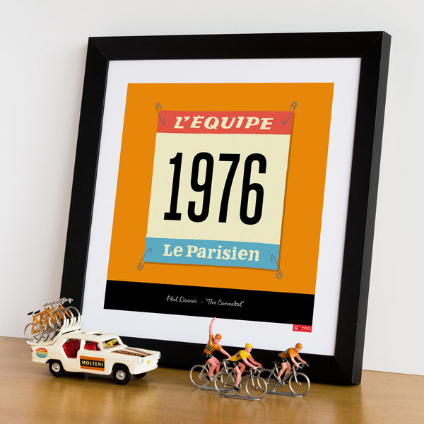 Race Number personalised cycling print, Molteni orange. 30 x 30 cm.