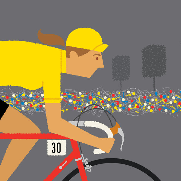 Detail of female yellow jersey personalised cycling print with medium skin tone option