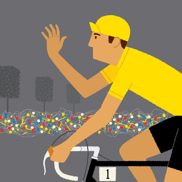 Detail of Yellow Jersey personalised cycling poster, with orange bike.