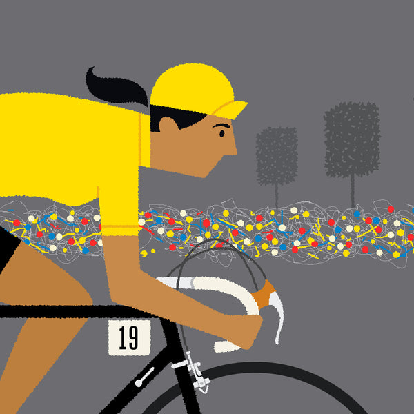 Detail of female yellow jersey personalised cycling print with tan skin tone option