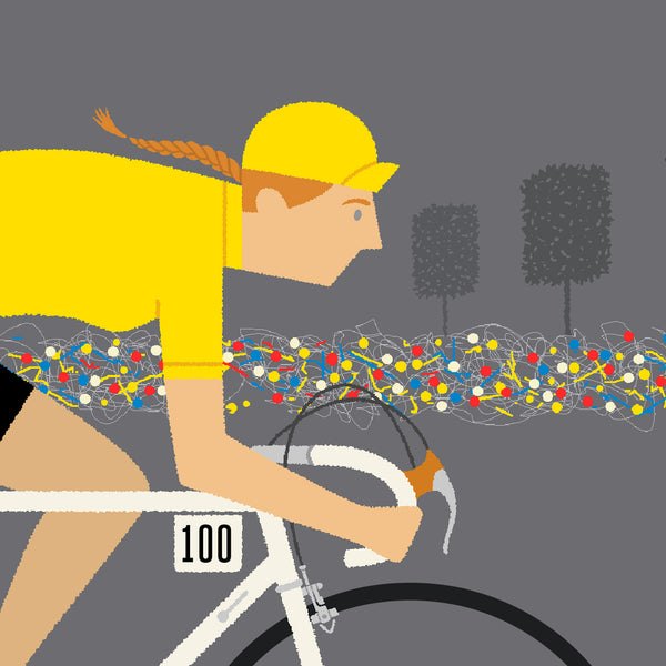 Detail of female yellow jersey personalised cycling print with fair skin tone option