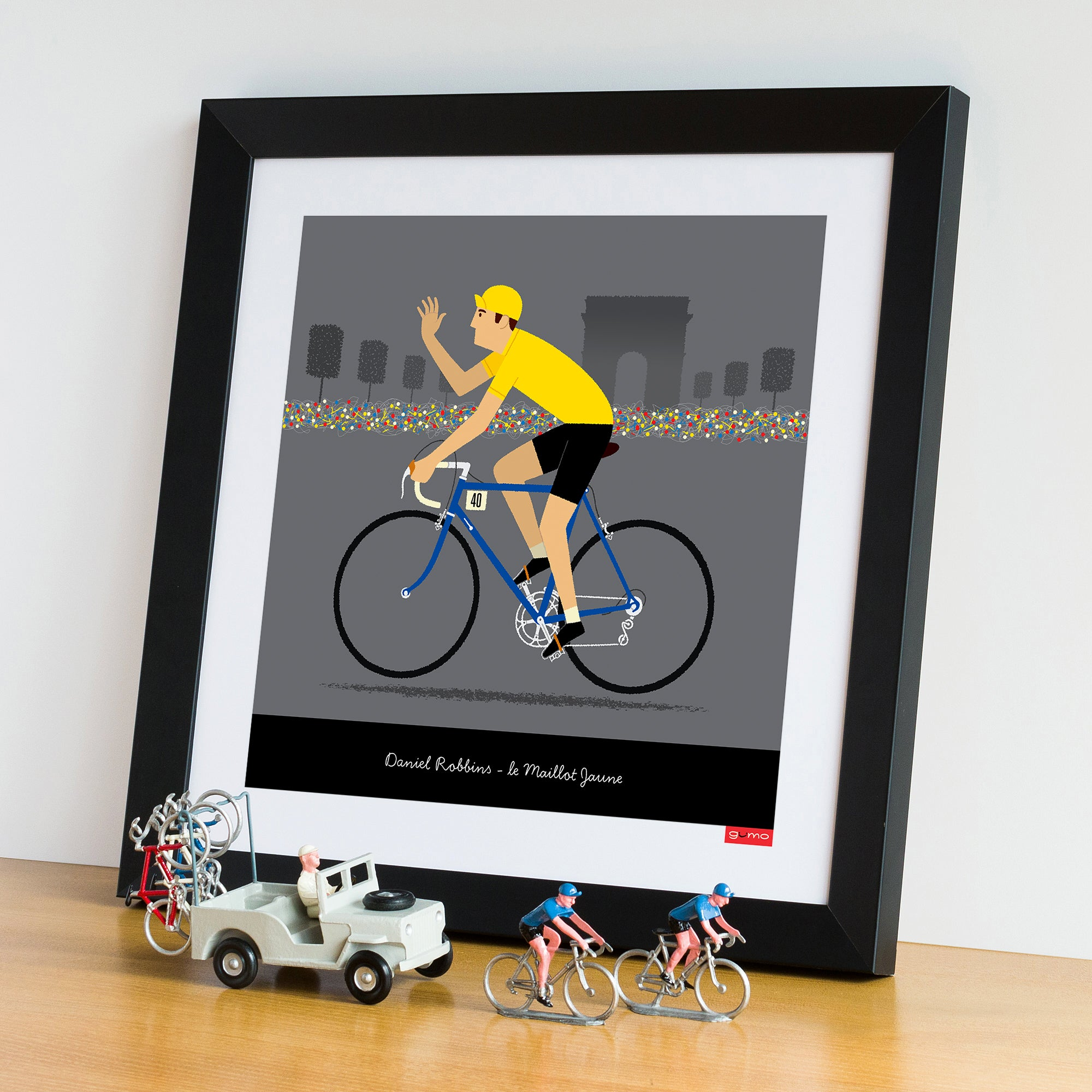 Framed Yellow Jersey custom cycling poster. 30 x 30 cm.