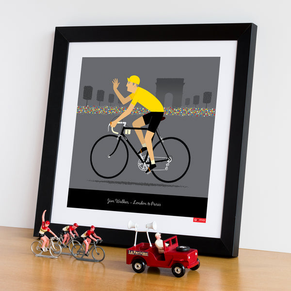 Framed example of Yellow Jersey personalised cycling print, with cycling figurines.