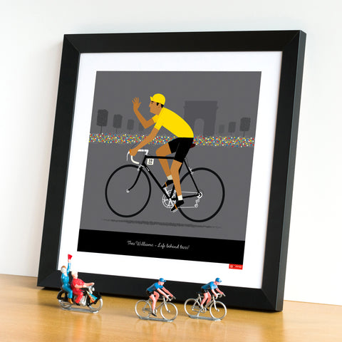 Framed Yellow Jersey personalised cycling poster with tan skin tone option. 30 x 30 cm.