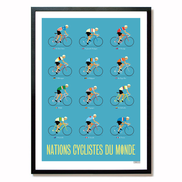 World Road Race Poster, framed, blue. A2.