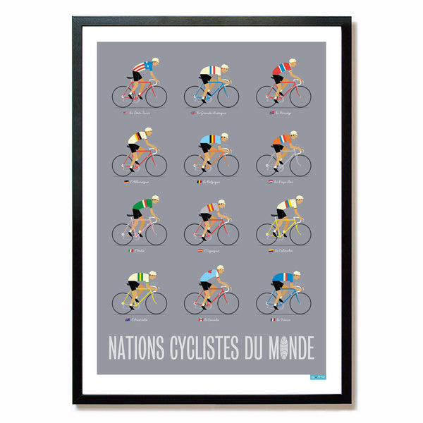 Framed World Road Race Poster, grey. A2.